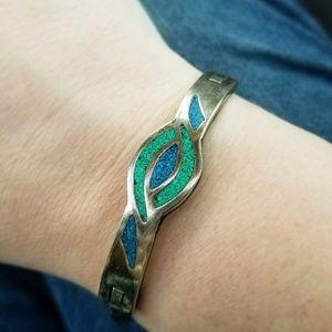 Vintage green blue inlay bracelet Alpaca Mexico